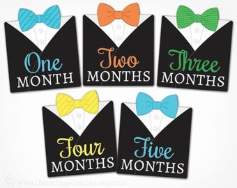 Monthly Bow Tie Stickers - Instant Download PRINTABLE DIY - Little Man Bow Tie Black Tux Month by Month Milestone Growth Stickers