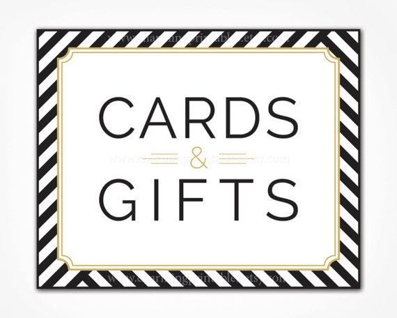 Gift Card Or Check For Wedding Gift : ... White Gold - Black White Stripe Wedding Party - Cards and Gifts Table