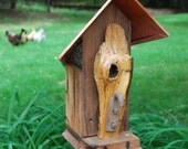 FREE SHIPPING: Rustic reclaimed redwood bird house with copper roof