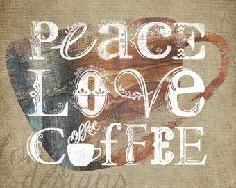 Peace, Love, Coffee Horizontal Typography Print