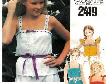 Tween Girl's Flutter Sleeve or Tie Shoulder Top with Gathered Peplum or Tie Waist Vintage Vogue 2419 Size 14 Chest 32