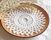 Small crochet doilies Crochet doily Round white handmade cotton lace doilies Small crochet doilies Centerpiece coaster Cotton