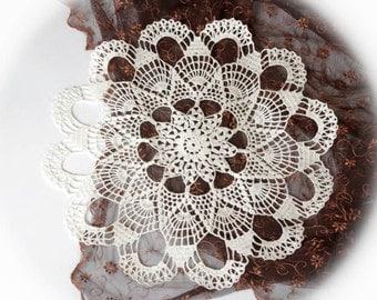 Large crochet doily White crochet doilies Linen lace doily Rustic table decoration