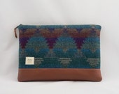 Padded Laptop Sleeve for iPad, MacBook, MS Surface, or Custom Size in Teal Blue, Burgundy, Grey, with Faux Leather Bottom