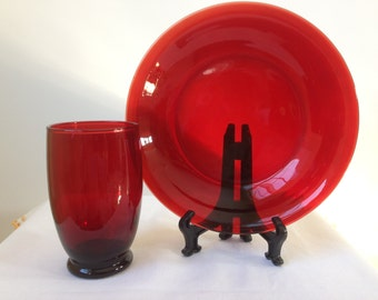Anchor Hocking - Fire King-  Royal Ruby  - Soup Bowl and Tumbler  -