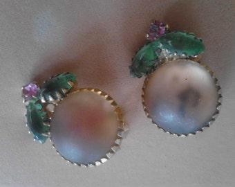 Just Peachy Vintage Clip-on Earrings  ECS