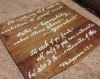Philippians 2:3-4 - Reclaimed Wood Bible Verse - Scripture Wall Sign - Hand painted wall art - Value Others Above Yourselves