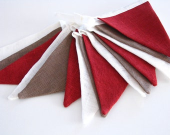 Bunting / Fabric Flag Banner / Pennant Nursery / Porch / Patio Decor / Photo Prop / Brown / Maroon / Brown