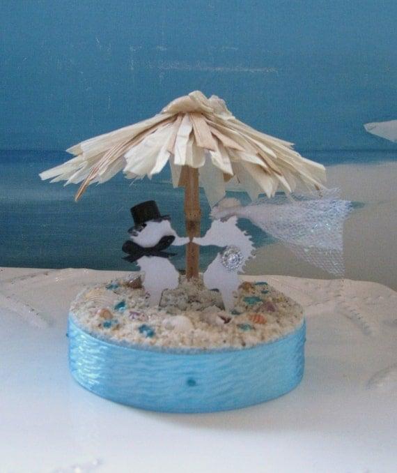 Seahorse Tiki Umbrella Beach Wedding Cake Topperseashell Cake