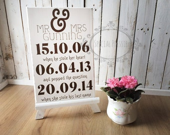 Wedding Signs Ireland Personalised Wedding sign with dates to remember Specal Pressie