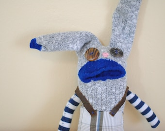 Unique Sock Animal Bunny with Suspenders, Hand-Stitched, Made with all Reclaimed Clothing, OOAK, Quirky Plush Toy, Sustainable Gift, Hipster