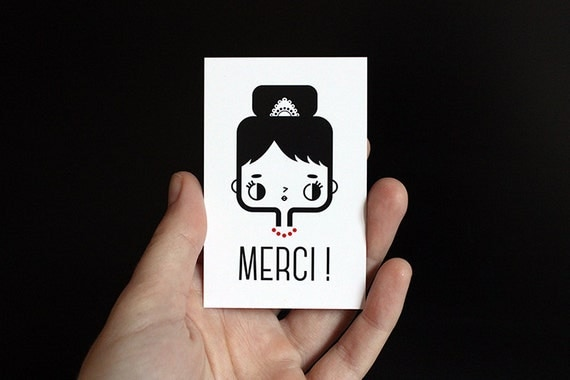 Thank you card in French - Set of ten - Merci card - cute card - kawaii illustration - minimalist card - black white red - gift