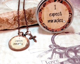 Affirmation Positive Saying Pendant Necklace with Gift Tin I expect miracles for friend mom teens