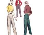 1940s Ladies' Pants Pattern, McCall 7804, Pleated Slacks with Side Zipper & 1 Pocket, 1949 Vintage Sewing Pattern, Waist 24