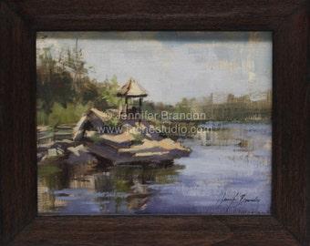 Morning Reflections at Mohonk Mountain - Plein Air Oil Painting by Jennifer Brandon - Jaché Studio
