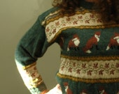 What Does the Fox Say Knit Pure Wool Vintage Sweater Jumper Wooland Animal