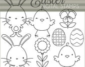 Easter Bunny Clip Art -Personal and Limited Commercial- Easter Chicks and Rabbits Black Line Art