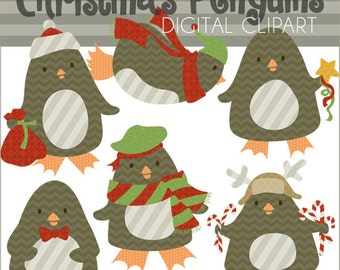 Christmas Clipart Christmas Penguins -Personal and Limited Commercial Use- Chevron, Stripes, Damask Penguin Clip Art