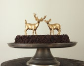 Gold Wedding Cake Topper, Golden Deer Bride and Groom, Woodland, Rustic Wedding