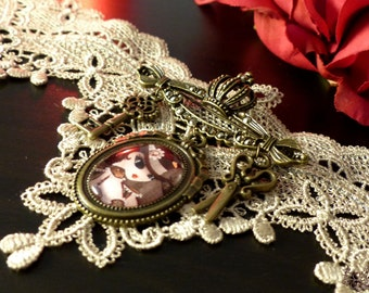 Steam T brooch, cameo with Swarovski crystals