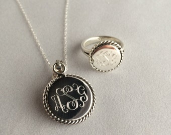 Valentines Day Jewelry Set Nautical Rope Monogrammed Ring and Necklace Set in Sterling Silver for Women or Christmas Present Round