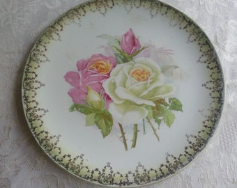 Stunning Antique Cake Plate by HR Wyllie China Co., Gorgeous Cottage Roses