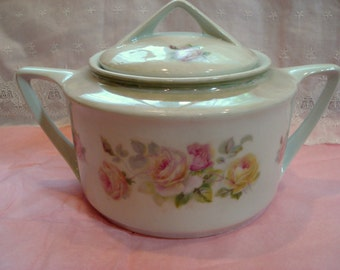 Vintage Serving Dish Shabby Cottage Chic Covered Pink and Yellow Rose Unusual