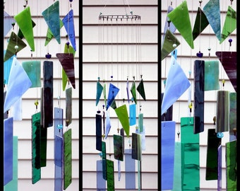 Large Blues And Greens Stained Glass Wind Chimes Indoor