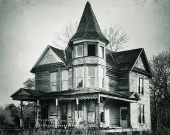 Victorian house photograph, abandoned home, haunted house, shabby chic, fine art photograph, ramshackle, travel photography