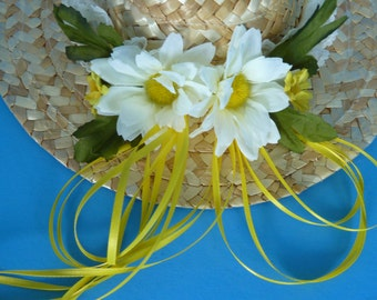 Wall Hanging, Home Decor of a Small Straw Hat Accented with Lace, Flowers and Yellow Satin Ribbon