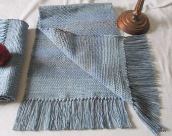 """Blue table runner, rag, table rug,  bureau scarf ,  table topper, 42"""" x 12"""""""