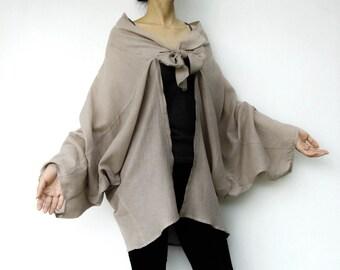 NO.89 Grey Sand Cotton Kimono Blouse, Tie  Front  Collar Cardigan