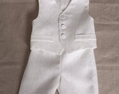 Baby boy ring bearer outfit boy baptism linen suit first birthday natural clothes rustic wedding eight-pointed star formal white SET of 3
