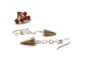 little glass spike dangle earrings // sterling silver beaded jewelry