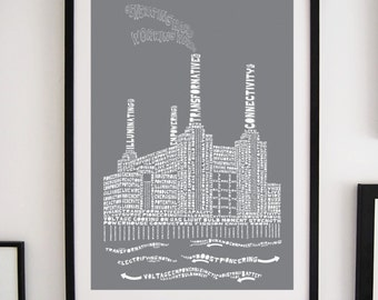 Citography Battersea power station typography print