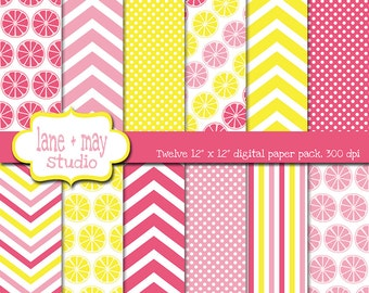 digital papers - pink and yellow lemonade theme patterns - INSTANT DOWNLOAD
