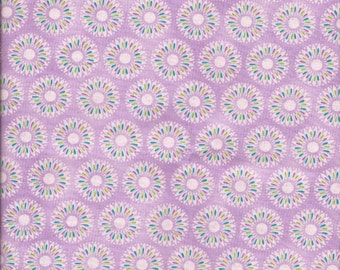 Cotton Fabric -  SALE OOP Fat Quarter Lavender Peacock Feather Floral 100% Cotton Fabric