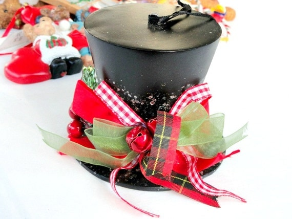 Christmas ornament black top hat collectible holiday tree