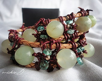 Jade, Natural Jade Bracelet, Green Wrapped Bracelet, Leather Wrapped Bracelet, Apatite Wrapped Bracelet, Weekend Jewelry