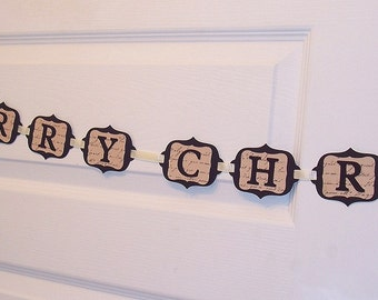 Vintage Style MERRY CHRISTMAS Garland - Vintage Print and Black Holiday Home Decor - Wall and Tree Garland