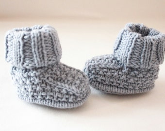 knitted baby boy booties - blue knit shoes - baby boots