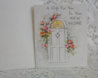 New Home Congratulations Card Miniature 1950's American Greetings Unsigned with Envelope.White Door Pink Roses Silver Embossed