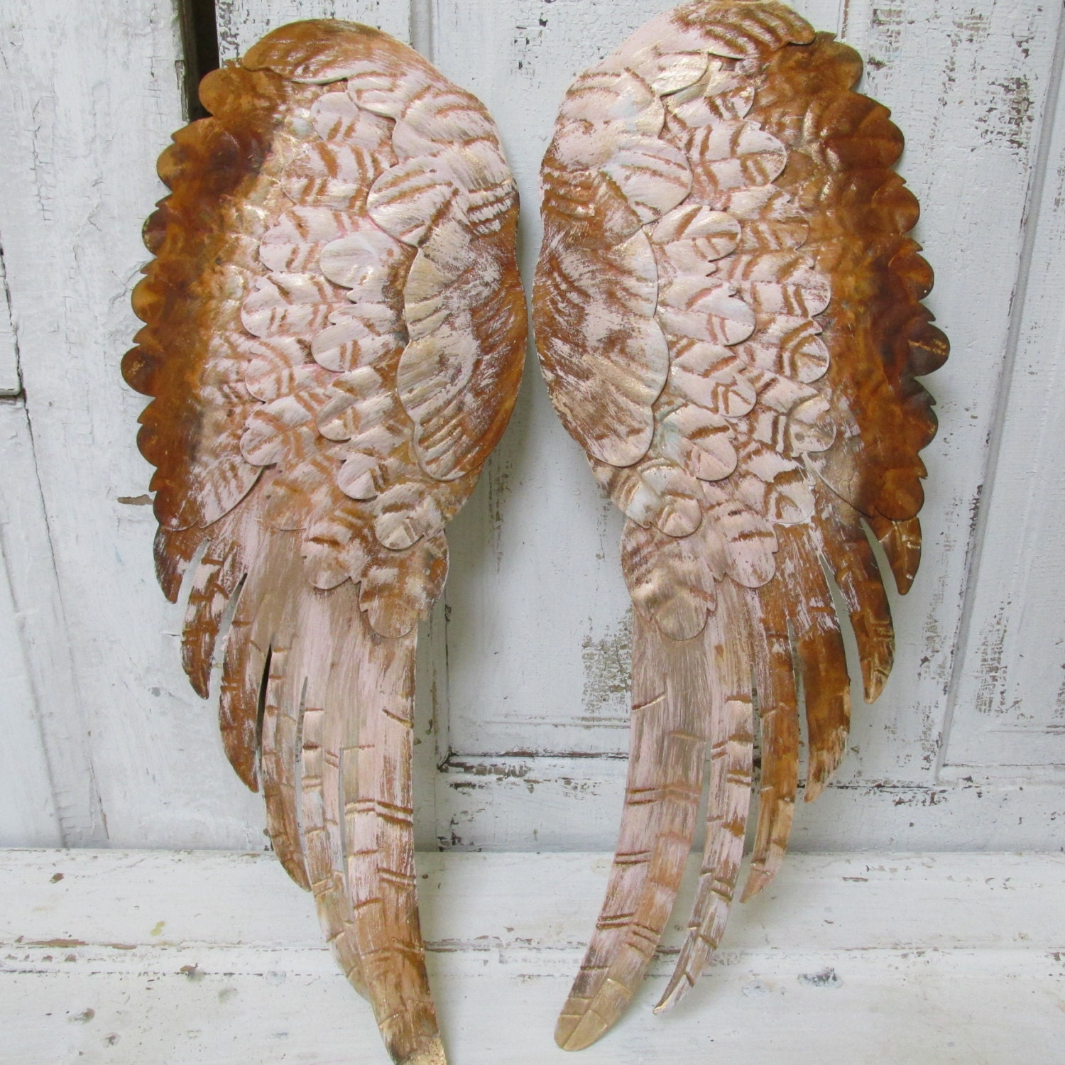 Distressed Metal Wall Decor : Large metal wings wall decor rusty distressed shabby chic pink