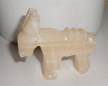 Donkey fetish figurine Mexico souvenir hand carved Mexican collectible onyx animal 1970s vintage STORE SALE