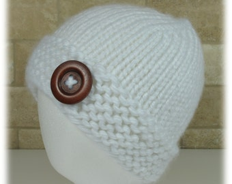 Knitted Hat-White Hat with Button-Big Button on Hat