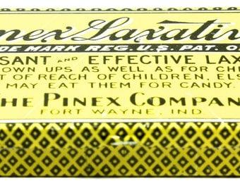 Antique Pinez Laxative Tin Yellow and Black