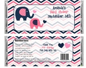Personalized Elephant Pink & Navy - Baby Girl Shower Favor - baby Boy Shower - set of 6