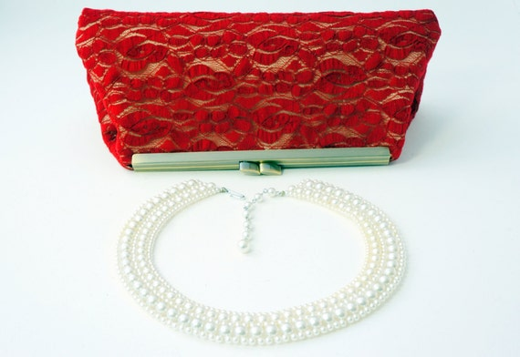 Romantic Red Clutch Handbag - Lace - Bridal/Wedding/Bridesmaid/Evening Purse - Includes Crossbody Chain - Made to Order