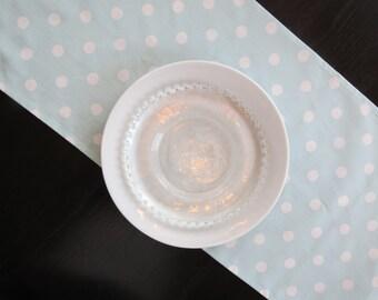 Polka Dot Table Runner in White on Blue