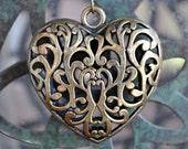 Heart Shaped Large Breaded Antiqued Bronze Pendent Neckles